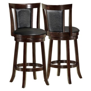 Black/Cappuccino Wood 43 inch Swivel Barstool 2 piece