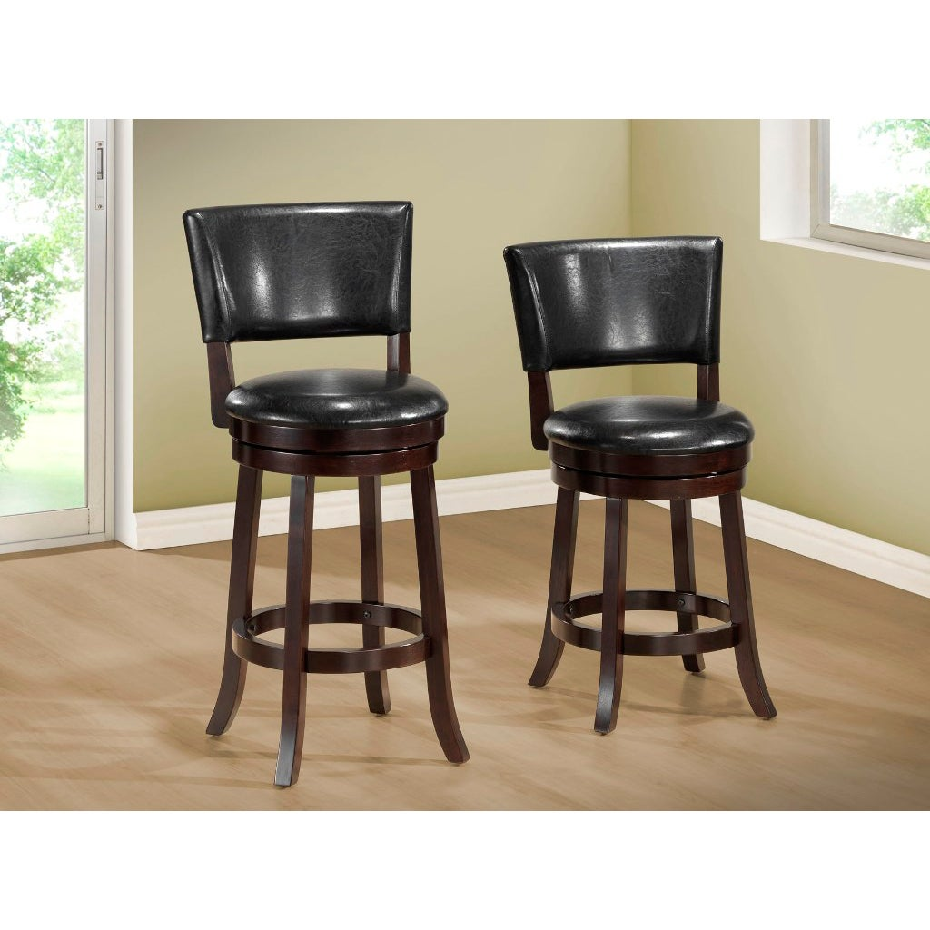 Counter Height Leather Bar Stools : Black Leather-Look 39 inch high Swivel Counter Height Stool 2 piece ...