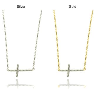 Finesque Gold Overlay/ Silver Diamond Accent Cross Necklace