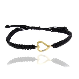 Finesque 18k Gold over Silver Diamond Accent Open Heart Braided String Bracelet