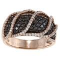 14k Rose Gold 1 1/2ct TDW Pave Black and White Diamond Ring (H-I, I1-I2)