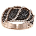 14k Rose Gold 1 1/2ct TDW Pave Black and White Diamond Ring (H-I, I1-I2)