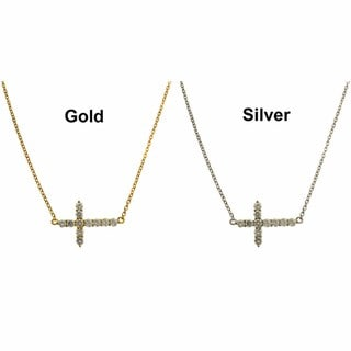 Dolce Giavonna Gold Overlay/ Silver Cubic Zirconia Sideways Cross Necklace