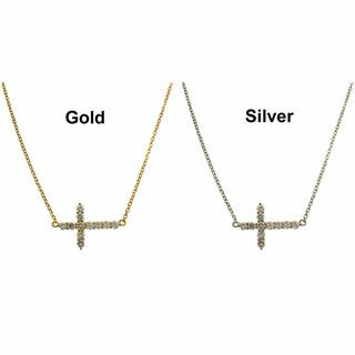 Dolce Giavonna 14k Gold Overlay/ Silver Cubic Zirconia Sideways Cross Necklace