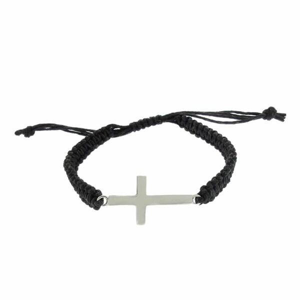 Dolce Giavonna Sterling Silver Sideways Cross Braided String Bracelet