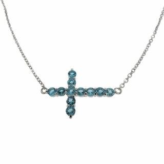 Dolce Giavonna Sterling Silver Swiss Blue Topaz Sideways Cross Necklace