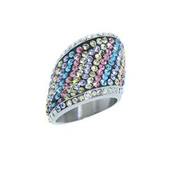 Eternally Haute Stainless Steel Multi-colored Czech Crystal Cocktail Ring