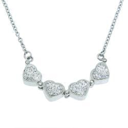 Eternally Haute Stainless Steel Czech Crystal Heart to Heart Necklace