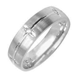 14k White Gold Men's 1/8ct TDW Diamond Wedding Band (G-H, SI1-SI2)