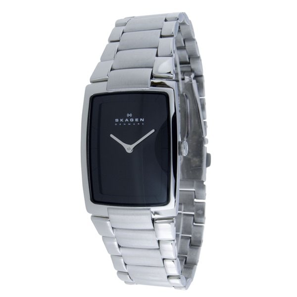 Skagen Men's Stainless Steel Rectangle Black Dial Link Watch