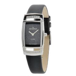 Skagen Women's Swiss Rectangle Black Leather Strap Watch