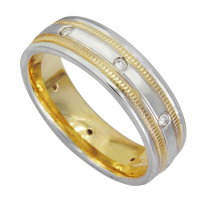 14k Two-tone Gold Men's 1/6ct TDW Diamond Wedding Band (G-H, SI1-SI2)
