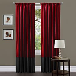"Red /Black Milione Fiori 84"" Curtain Panel Pair"