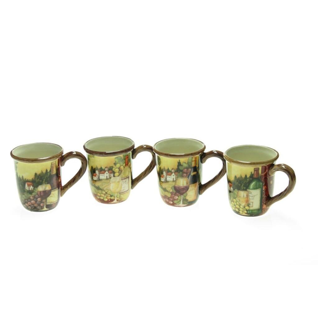 Certified International Merlot Sunset 16-ounce Assorted Mug (Set of 4)