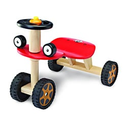 Red Buggy Car with Comfortable Wooden Seat and Firm Grip Wheels