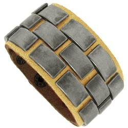Distressed Yellow Leather and Silvertone Plate Bracelet
