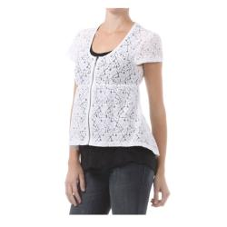 Tabeez Women's Short Sleeve Lace Top with Zip Front