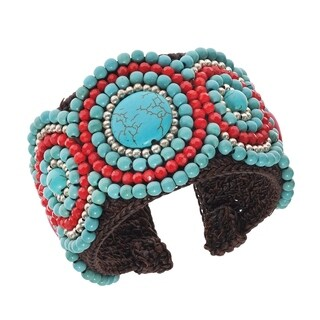Enamored Mosaic Turquoise/ Coral Stones Cuff (Thailand)