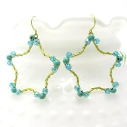 Gold Star Daze Turquoise Stone Dangle Brass Earrings (Thailand)