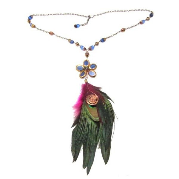 Handmade Chic Blue Star Feather Inspiration Dangle Necklace (Thailand) 9232478