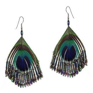 Silk Thread Ruffles Peacock Earrings (Thailand)