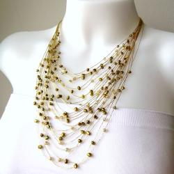 Golden Layers Freshwater Dyed Green Pearls Necklace (Thailand)