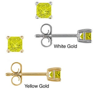 14k Gold 1/4ct to 1ct TDW Yellow Diamond Stud Earrings