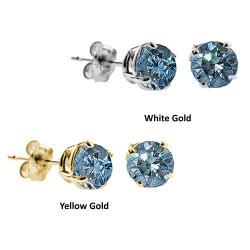 14k Gold 1/4ct to 1ct TDW Blue Diamond Stud Earrings