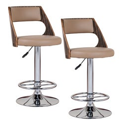 Saddle Bentback Adjustable Swivel Stool with Mocha Highlights (Set of 2)