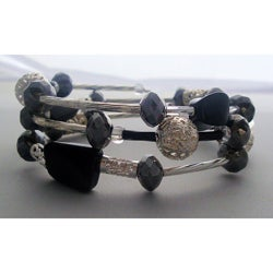 Filigree Silver and Twisted Black Wrap Bracelet
