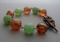 Mint Green & Light Orange Bracelet