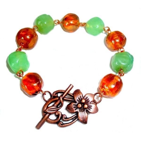 Mint Green & Light Orange Bracelet