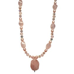 Beadwork By Julie Rose Quartz, Freshwater Pearl and Crystal Necklace