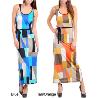 Stanzino Women's Geometric Print Tank Maxi Dress