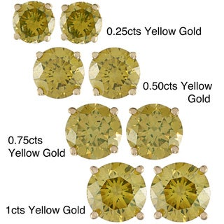 High-polish 14-karat Gold and Yellow-diamond Stud Earrings