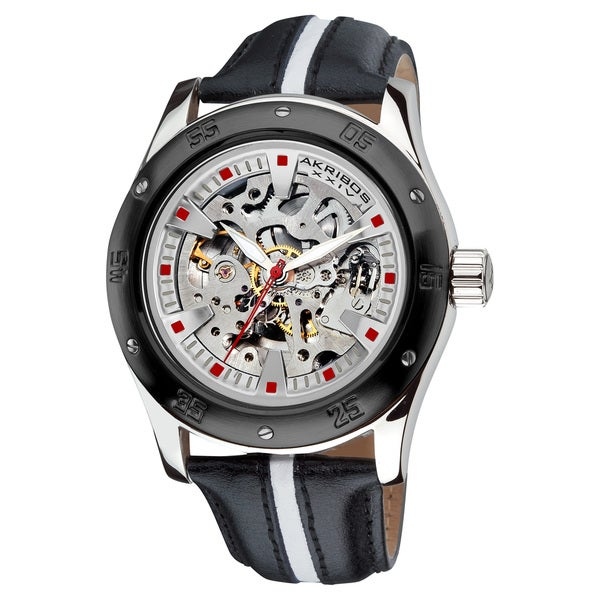 Akribos XXIV Men's Skeleton Automatic Water-Resistat Retro Strap Watch