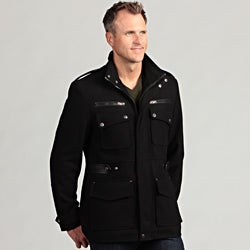 Izod Men's Wool Faux Leather Trim Military Coat