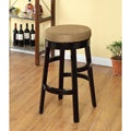 Brown Microfiber/ Black Wood Swivel Barstool