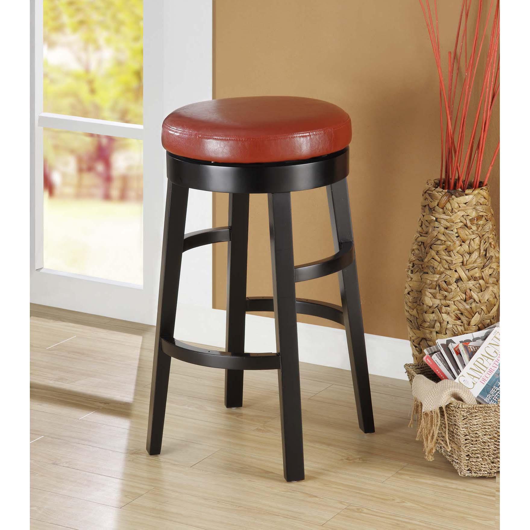 Red Bi-cast Leather/ Black Wood Swivel Barstool
