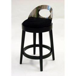 Stationary Black Microfiber With Polished Steel Back Barstool