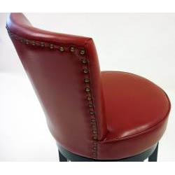 Bi-cast Leather/ Black Wood Swivel Barstool