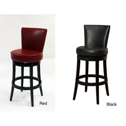 Bi-cast Leather/ Black Wood Swivel Barstool