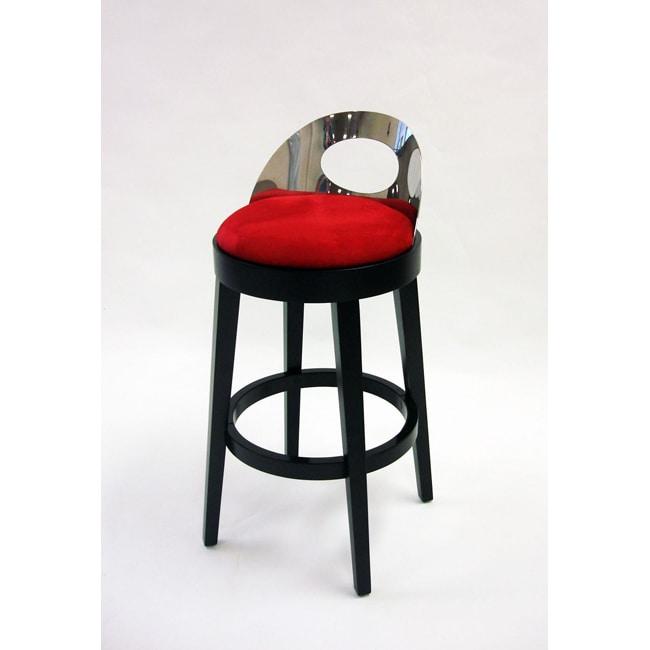Stationary Red Microfiber Black Wood Steel Barstool
