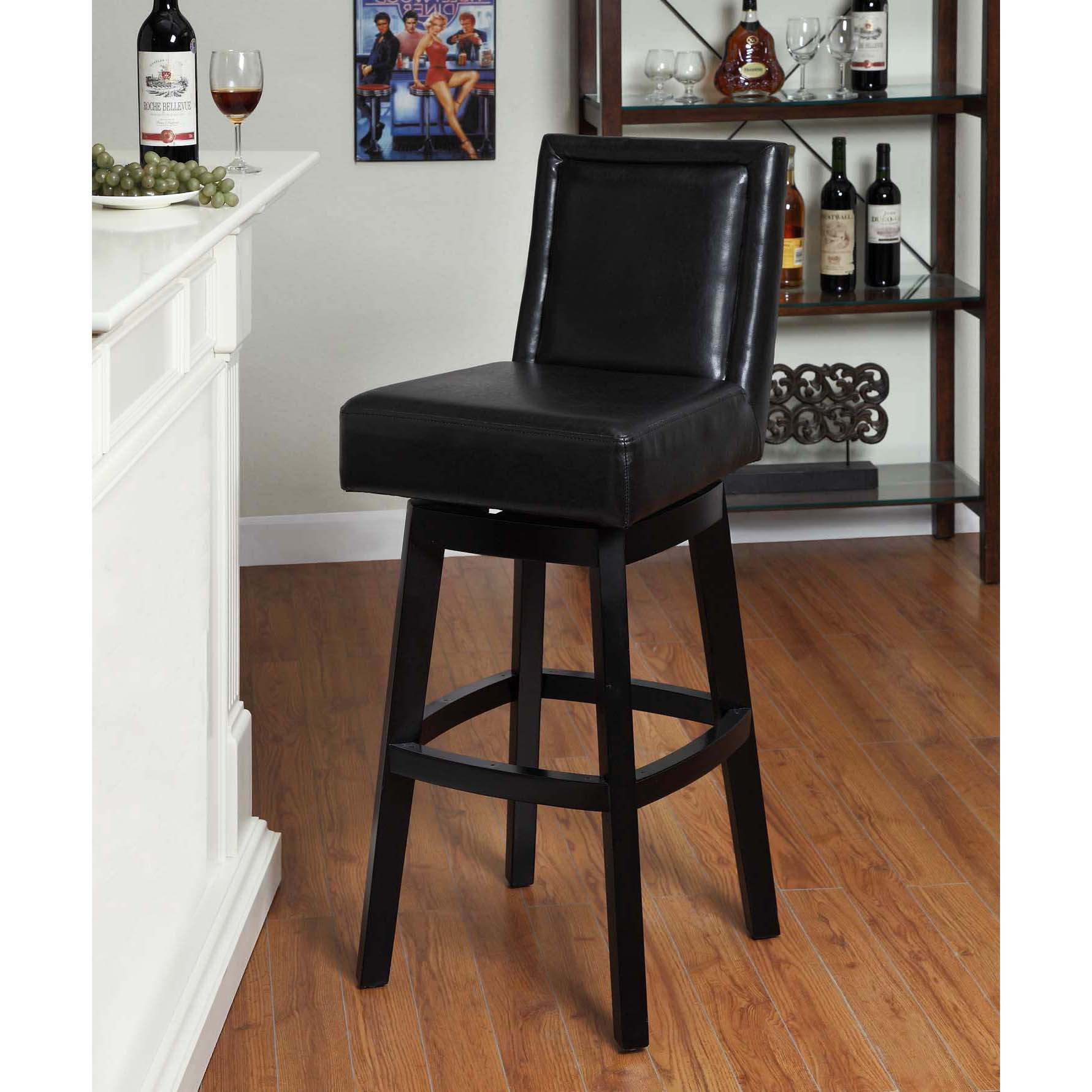Wayne Black Bi Cast Leather Black Wood Swivel Barstool