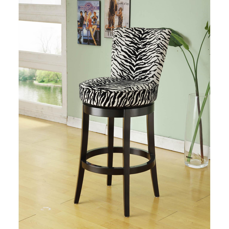 Zebra Print/ Black Wood Swivel Barstool
