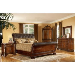 Queen Size 4 Piece Wood Leather Sleigh Bedroom Set 14338761 Shopping Big