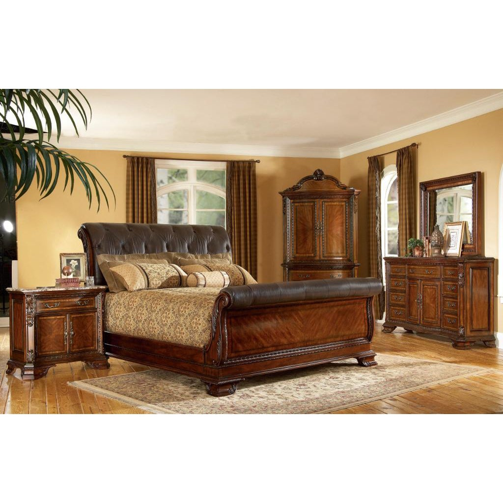King size 4 piece wood leather sleigh bedroom set - King size sleigh bed bedroom set ...