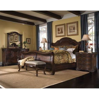 Queen-size 'Coronado' 4-piece Wood/ Leather Bedroom Set
