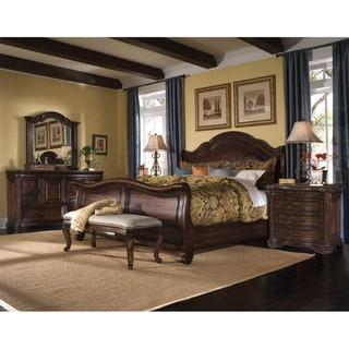 King-size 'Coronado' 4-piece Wood/ Leather Bedroom Set