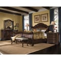 King-size 'Corondo' 4-piece Wood/ Leather Bedroom Set